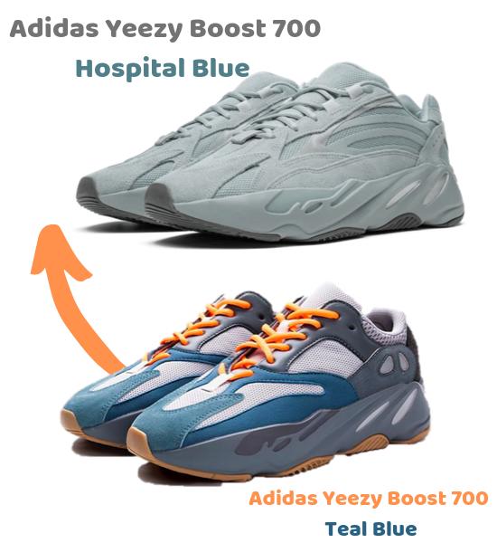 Adidas Yeezy 7oo Hospital Blue vs. Teal Blue