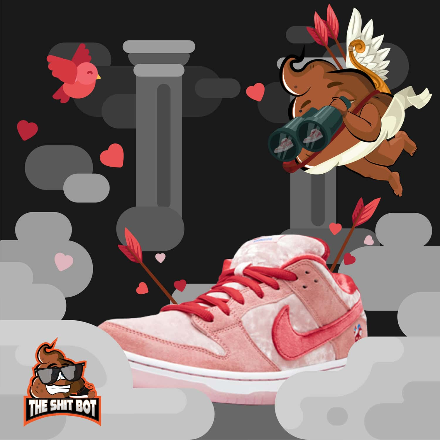 Valentine's Day StrangeLove Skateboards x Nike SB Dunk Low
